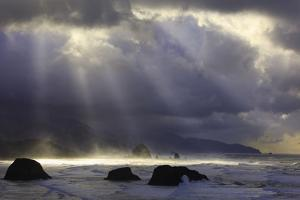 Sunrise Ecola State Park Looking South to Cannon Beach and Haystack Rock, Oregon Coast by Craig Tuttle