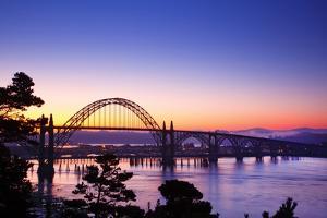 Sunrise over Newport Bridge, Newport Oregon, Oregon Coast, Pacific Northwest by Craig Tuttle
