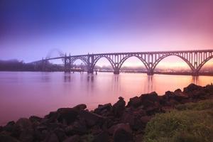 Sunrise Thru Fog, Newport Bridge, Oregon Coast. Pacific Northwest, United States by Craig Tuttle