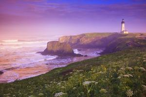 Sunrise Thru Fog, Yaquina Head Lighthouse, Oregon Coast. Pacific Northwest, United States by Craig Tuttle