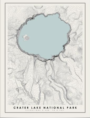 Crater Lake National Park Topographical Print