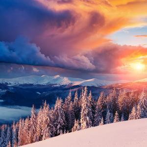 Majestic Landscape Glowing by Sunlight in the Morning. Dramatic and Picturesque Wintry Scene. Locat by Creative Travel Projects