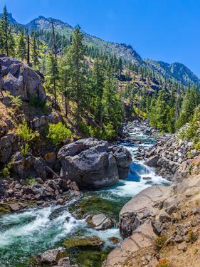 Creek flowing through rocks, Icicle Creek, Leavenworth, Washington State, USA