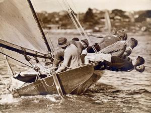 "Crew of the ""Arawatta"" During the ""Eighteen Footer"" Race, Sydney Harbour, 9th April 1934"