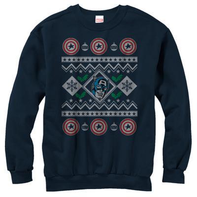 Crewneck Sweatshirt: Captain America- Christmas Cheer Sweater