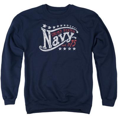 Crewneck Sweatshirt: Longsleeve: Navy- Stars