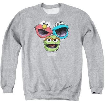 Crewneck Sweatshirt: Sesame Street- Three Lively Monsters