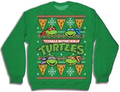 Crewneck Sweatshirt: TMNT- Pizza Ugly Xmas Sweater