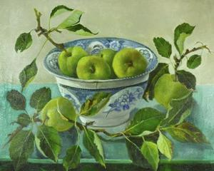 Apples and blue Bowl by Cristiana Angelini