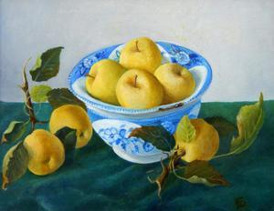 yellow apples in blue and white bowl by Cristiana Angelini