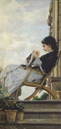 Woman Sewing on the Terrace, 1882