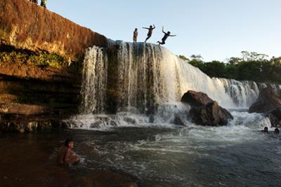 Kayapo Indin Children Diving Off of a Waterfall