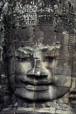 Large Stone Carving at the Bayon Ruins in Angkor Wat by Cristina Mittermeier