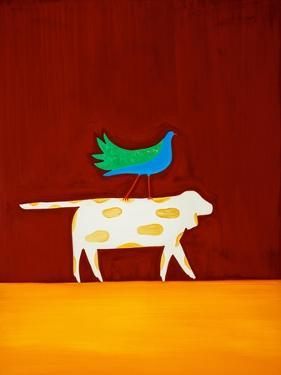 Dog and bird,1998,(oil on linen) by Cristina Rodriguez