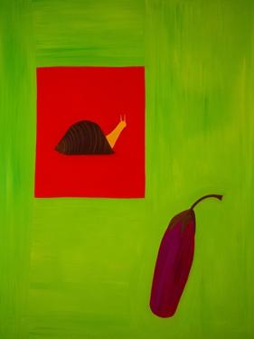 Snail and aubergine,1998,(oil on linen) by Cristina Rodriguez