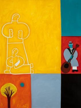 The family, 2001,(oil on linen) by Cristina Rodriguez