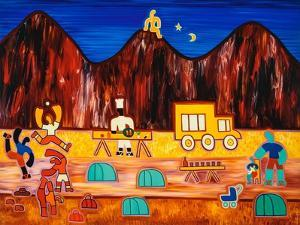 The last night at the campsite, 2003,(oil on linen) by Cristina Rodriguez