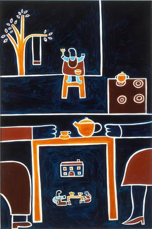 The meals II, 2001,(oil on linen)