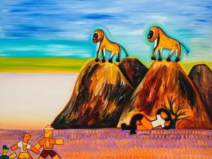 Timo and the baboons, 2003,(oil on linen) by Cristina Rodriguez