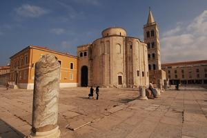 Croatia - Dalmatia - Zadar. Circular St. Donat's Church and Bell Tower at St. Stosija's Cathedral