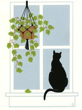 Black Cat on a Window Sill by Crockett Collection
