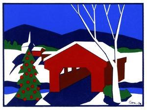 Decorated Christmas Tree Next to Covered Bridge by Crockett Collection