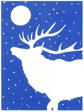 Elk in Snow with Moon Overhead by Crockett Collection