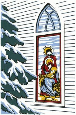 Stained Glass Window of Joseph, Mary and Baby Jesus with Pine Tree Next to It by Crockett Collection