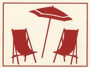 Two Beach Chairs and an Umbrella by Crockett Collection