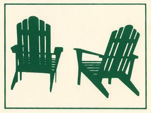 Two Wooden Lawn Chairs by Crockett Collection