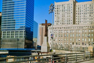 Cross at World Trade Towers Memorial Site for September 11, 2001, New York City, NY