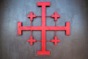 Cross symbol on the wall of St. John Baptist Church, Acre (Akko), Israel