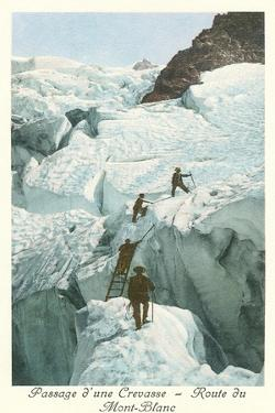 Crossing a Crevasse, Mont-Blanc Route