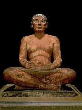 Crouching Scribe Statue, from Saqqara, Old Kingdom (Limestone, Alabaster & Rock Crystal)
