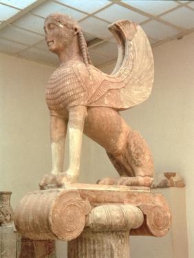 Crouching Sphinx on an Ionic Votive Column, Greek, from Naxos, circa 560 BC