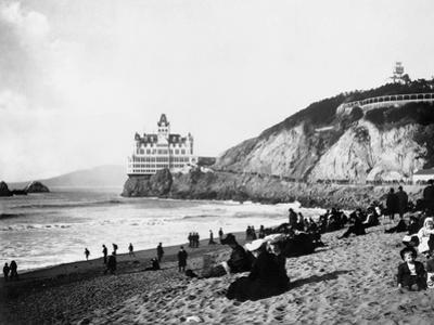 Crowds Enjoy the Beach Below the Cliff House