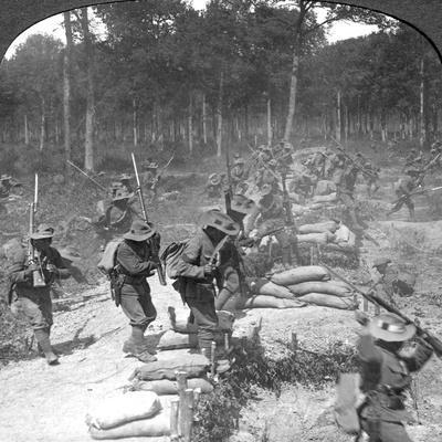 First Line Gurkhas Storming and Capturing a German Trench, World War I, 1914-1918