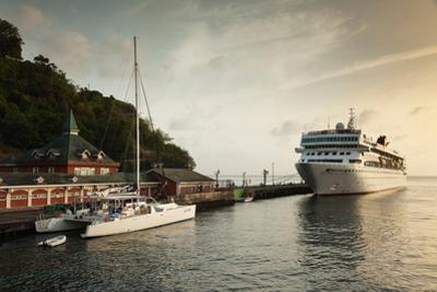 Cruise ship at port, Kingstown, Saint Vincent Island, Saint Vincent And The Grenadines