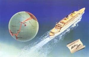 Cruise Ship with Routes on Globe, Matson Line