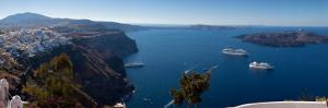 Cruise Ships in the Sea, Fira, Santorini, Cyclades Islands, Greece