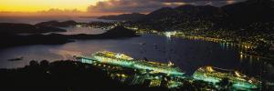 Cruise Ships Lit Up at Dusk, Charlotte Amalie, St. Thomas, US Virgin Islands