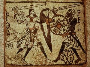 Crusader and Moor in Combat, Mosaic, 12th century Romanesque