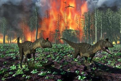 Cryolophosaurus Dinosaurs Fleeing from a Deadly Forest Fire
