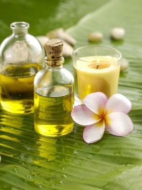 Health Spa with Massage Oil, Frangipani,Candle by crystalfoto