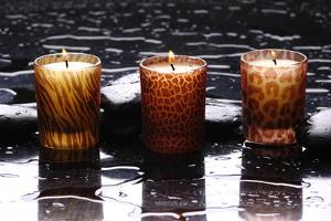 Spa Still Life with Candle Perfect Flames in Water Drops by crystalfoto