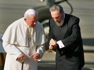 Cuban President Fidel Castro,And Pope John Paul II