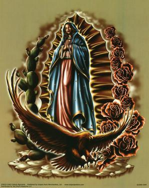 Cultura Mexicana (Our Lady of Guadalupe with Eagle, Cactus, Roses) Art Poster Print