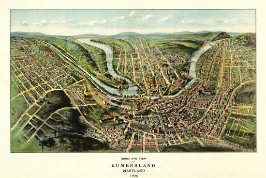 Cumberland, Maryland - Panoramic Map-Lantern Press-Stretched Canvas Print