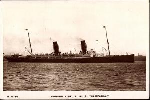 Cunard Line, R.M.S. Campania, Dampfschiff in Fahrt