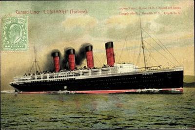 Cunard Line, Turbine Liner Lusitania, Dampfer